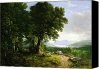 Pioneers Painting Canvas Prints - Landscape with Covered Wagon Canvas Print by Asher Brown Durand