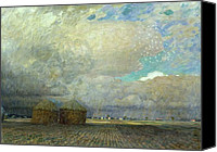 Ploughed Canvas Prints - Landscape with Huts Canvas Print by Leopold Karl Walter von Kalckreuth