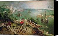 Mythological Canvas Prints - Landscape with the Fall of Icarus Canvas Print by Pieter the Elder Bruegel