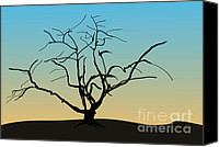 Dave Digital Art Canvas Prints - Landscape with Tree Canvas Print by Dave Gordon