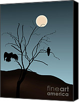 Dave Digital Art Canvas Prints - Landscape with Tree Vultures and Moon Canvas Print by Dave Gordon