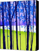 Simple Painting Canvas Prints - Landscape with Trees III Canvas Print by Jerome Lawrence