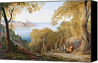 Hill Town Canvas Prints - Landscape with View of Lerici Canvas Print by Edward Lear