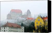 Damp Canvas Prints - Landshut Bavaria on a Foggy Day Canvas Print by Christine Till