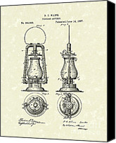 Oil Lamp Canvas Prints - Lantern 1887 Patent Art Canvas Print by Prior Art Design