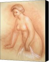 Girls Pastels Canvas Prints - Large Bather Canvas Print by Pierre Auguste Renoir