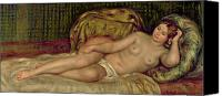 Impressionism Canvas Prints - Large Nude Canvas Print by Pierre Auguste Renoir