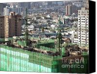 Bars Canvas Prints - Large Scale Construction Site Canvas Print by Yali Shi