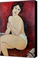 Modigliani Canvas Prints - Large Seated Nude Canvas Print by Amedeo Modigliani