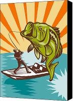 Fish Jumping Canvas Prints - Largemouth Bass Fish and Fly Fisherman Canvas Print by Aloysius Patrimonio