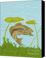 Largemouth Bass Canvas Prints - Largemouth Bass Fish Swimming Underwater  Canvas Print by Aloysius Patrimonio