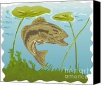 Largemouth Bass Canvas Prints - Largemouth Bass Jumping Canvas Print by Aloysius Patrimonio