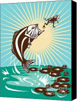 Largemouth Bass Canvas Prints - Largemouth Bass Jumping Catching Frog  Canvas Print by Aloysius Patrimonio