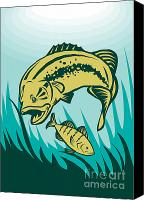 Largemouth Bass Canvas Prints - Largemouth Bass Preying On Perch Fish Canvas Print by Aloysius Patrimonio