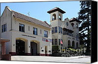 Fire Fighter Canvas Prints - Larkspur Fire Department and City Hall - Larkspur California - 5D18502 Canvas Print by Wingsdomain Art and Photography