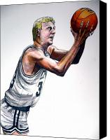 Basketball Canvas Prints - Larry Bird Canvas Print by Dave Olsen