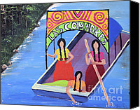 Shore Mixed Media Canvas Prints - Las Comadres en Xochimilco Canvas Print by Sonia Flores Ruiz