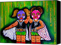 Mexican Fighters Canvas Prints - Las Luchadoras Canvas Print by Laura and Karina Gomez