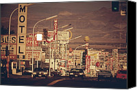 Public Transportation Canvas Prints - Las Vegas Commercial Street Canvas Print by Everett