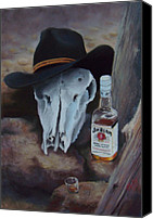 Skull Pastels Canvas Prints - Last Chance Saloon or Jim Beams Guardian Spirit Canvas Print by Marcus Moller