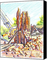 Ruins Drawings Canvas Prints - Last of the Lopez Building Main Street Canvas Print by Kip DeVore