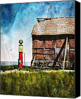 Barn Mixed Media Canvas Prints - Last Stop Texaco Canvas Print by Bob Orsillo