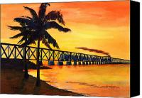 Florida Bridge Painting Canvas Prints - Last Train To Paradise Canvas Print by CB Woodling