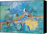 Florida Bridge Painting Canvas Prints - Last Train To Paradise Canvas Print by Natalie L