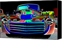 Custom Ford Digital Art Canvas Prints - Late 40s Ford  Canvas Print by David Taylor