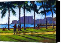 Palm Trees Canvas Prints - Late Afternoon - Queens Surf Canvas Print by Douglas Simonson