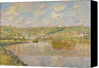 Signed Painting Canvas Prints - Late Afternoon - Vetheuil Canvas Print by Claude Monet