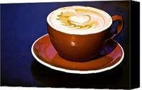 Latte Canvas Prints - Latte Art Canvas Print by Barb Pearson