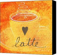 Orange Mixed Media Canvas Prints - Latte Canvas Print by Linda Woods
