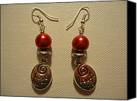 Unique Jewelry Jewelry Canvas Prints - Laugh Often Love Much Red Earrings Canvas Print by Jenna Green