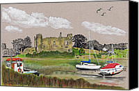 Ruin Drawings Canvas Prints - Laugharne Castle 2 Canvas Print by Lynn Blake-John