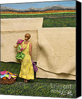 Mom Mixed Media Canvas Prints - LAUNDRY - Crop Of Original - To See Complete Artwork Click View All Canvas Print by Anne Klar