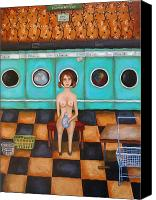 Machine Canvas Prints - Laundry Day 4 Canvas Print by Leah Saulnier The Painting Maniac