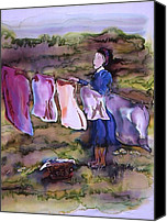 Dyes Tapestries - Textiles Canvas Prints - Laundry Day Canvas Print by Carolyn Doe
