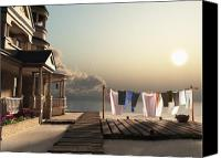 Sand Canvas Prints - Laundry Day Canvas Print by Cynthia Decker