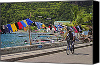 Williams Canvas Prints - Laundry Drying- St Lucia. Canvas Print by Chester Williams