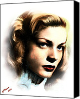 Silver Screen Actress Canvas Prints - Lauren Bacall Canvas Print by Arne Hansen