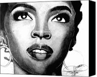 African American Art Drawings Canvas Prints - Lauryn Hill Drawing Canvas Print by Keeyonardo 
