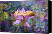Lotus Art Canvas Prints - Lavendar Lotus Dream Baby Canvas Print by MiMi  Photography