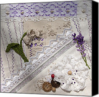 Embroidery Tapestries - Textiles Canvas Prints - Lavender and Lace Canvas Print by Masha Novoselova