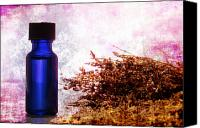 Dry Canvas Prints - Lavender Essential Oil Bottle Canvas Print by Olivier Le Queinec