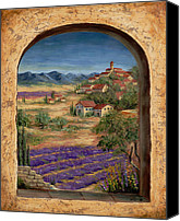 Provence Canvas Prints - Lavender Fields and Village of Provence Canvas Print by Marilyn Dunlap