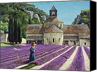Picker Canvas Prints - Lavender Picker - Abbaye Senanque - Provence Canvas Print by Trevor Neal