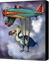 Airplane Painting Canvas Prints - Lazy Bird Canvas Print by Leah Saulnier The Painting Maniac