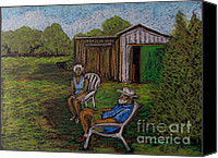 Farm Scenes Canvas Prints - Lazy Day on the Farm Canvas Print by Reb Frost