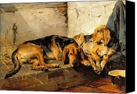 Dogs Canvas Prints - Lazy Moments Canvas Print by John Sargent Noble